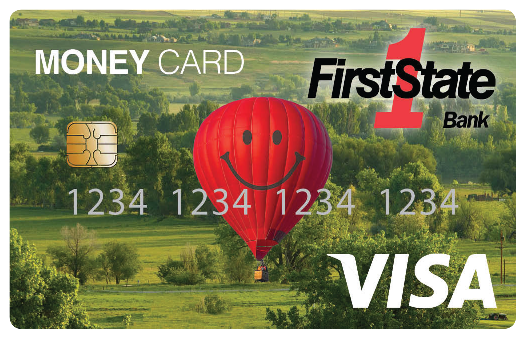 Picture of First State Bank Money Card (debit card).
