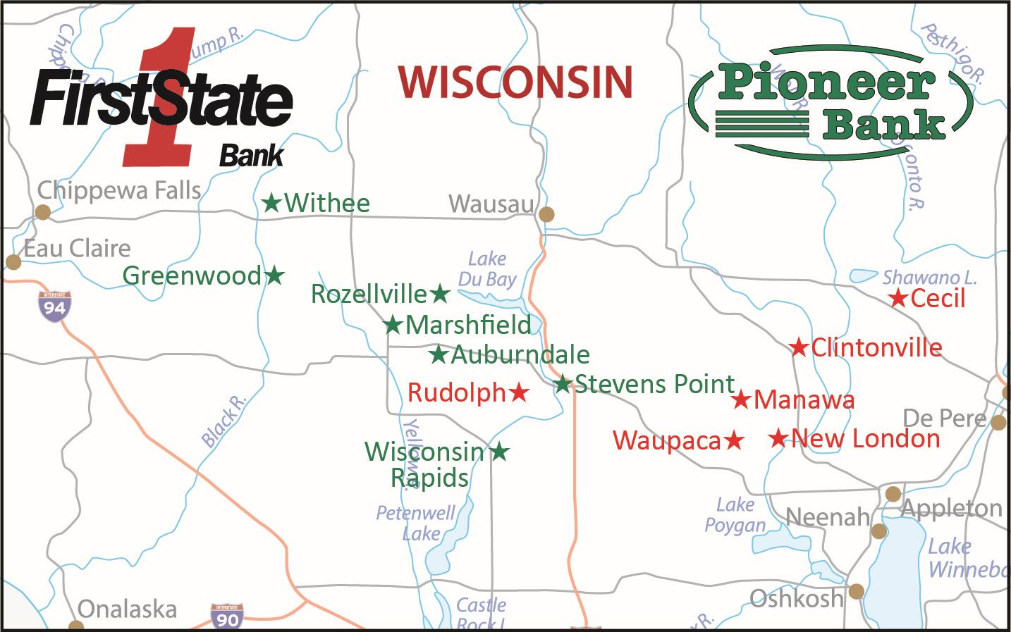 Map showing locations of First State Bank and Pioneer Bank offices