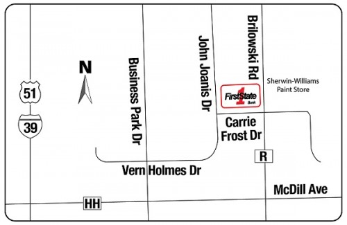 Map showing location of First State Bank's future Stevens Point branch.