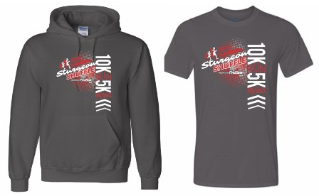 Picture of the event t-shirt and sweatshirt for the Sturgeon Shuffle.